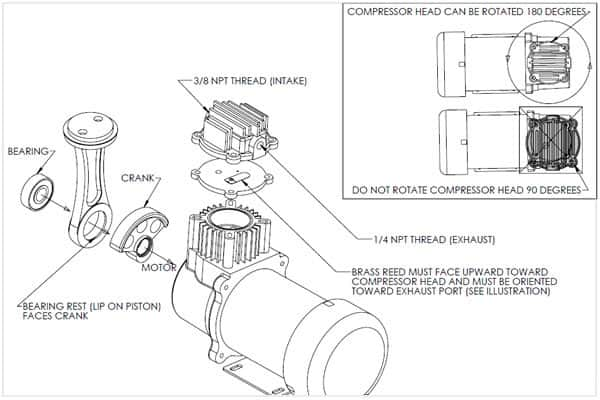 Air Compressor Exploded View, Air Ride Suspension Compressor