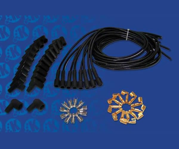 7mm Black 90 Degree Universal Cloth Wrapped Spark Plug Kit
