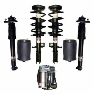 2000-2006 BMW X5 w/ Rear Leveling ONLY Front Struts with Rear Left & Right Air Ride Suspension Air Spring Bags, Gas Shocks & Compressor Kit