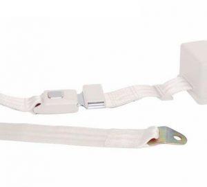 2 Point Retractable White Lap Seat Belt  (1 Belt)