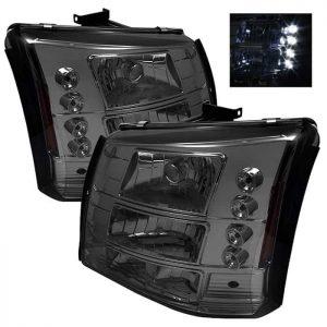 2003-2006 Chevy Silverado, C1500, C2500, C3500 1-PC LED Crystal Headlights – Smoke