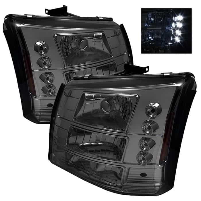 2003-2006 Chevy Silverado, C1500, C2500, C3500 1-PC LED Crystal Headlights - Smoke