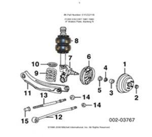 1992-1999 Ford E150 Front Air Suspension Kit, I-Beam/Bracket Kit (no fittings)