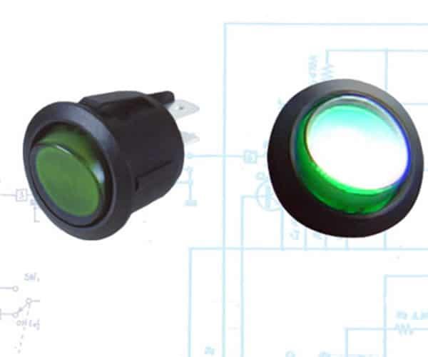 Illuminated Rocker Switch 6 - Green  20a/12vdc