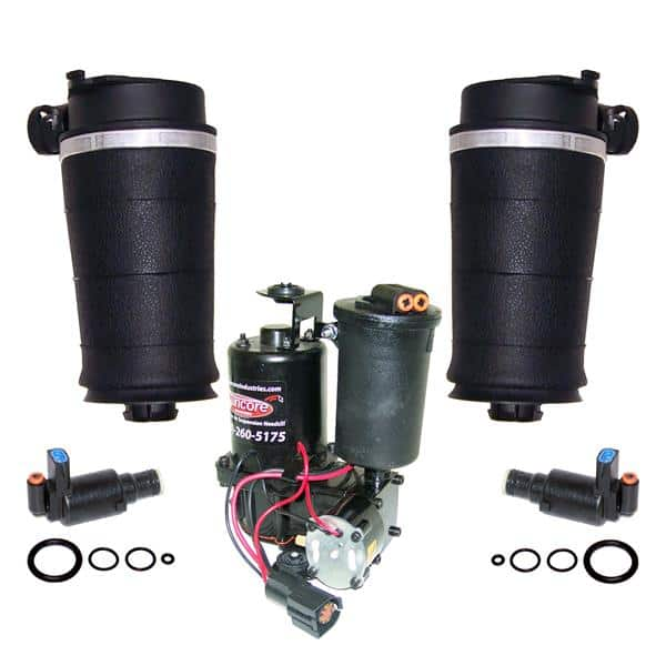 1995-1996 Lincoln Continental Rear Left & Right Air Ride Suspension Air Spring Bags, Solenoids & Compressor Kit