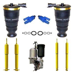 1998-2002 Lincoln Town Car Rear Suspension Air Spring Bags, Solenoids, Compressor & 4Wheel Gas Shocks Kit