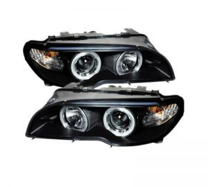 2004-2006 BMW E46 3-Series 2DR LED Halo Projector Headlight (Halogen Model Only – Not Compatible With Xenon/HID) – Black