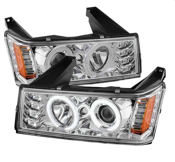 2004-2012 Chevy Colorado (Not Compatible With Xenon/HID Model) CCFL Halo Projector Headlights (Halogen Model Only) - Chrome