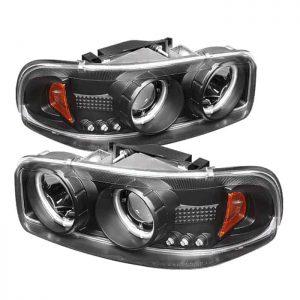 2001-2006 GMC Yukon Denali XL/SLT, Sierra CCFL LED Projector Headlights (Replaceable LEDs) – Black