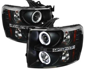2007-2013 Chevy Silverado CCFL Halo Projector Headlights (Replaceable LEDs) – Black