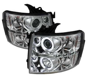 2007-2013 Chevy Silverado CCFL Halo Projector Headlights (Replaceable LED's) – Chrome