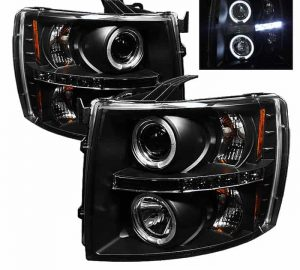 2007-2013 Chevy Silverado LED Halo Projector Headlights (Replaceable LED's) – Black
