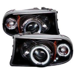1997-2001 Dodge Dakota, Durango 1PC CCFL Halo Projector Headlights (Replaceable LEDs) – Black