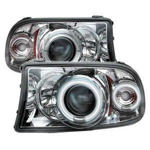 1997-2001 Dodge Dakota, Durango 1PC CCFL Halo Projector Headlights (Replaceable LEDs) – Chrome