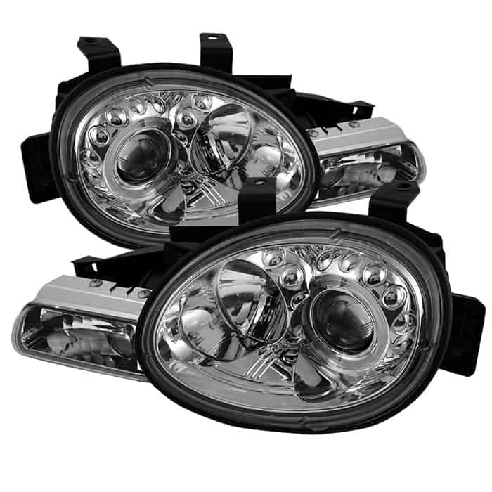 1995-1999 Dodge Neon Halo LED Projector Headlights (Replaceable LEDs) - Chrome