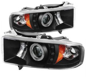 1999-2002 Dodge Ram 1500, 2500, 3500 CCFL Halo LED Projector Headlights (Sports Model Only) (Replaceable LEDs) – Black