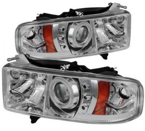1999-2002 Dodge Ram 1500, 2500, 3500 CCFL Halo LED Projector Headlights (Sports Model Only) (Replaceable LED's) – Chrome