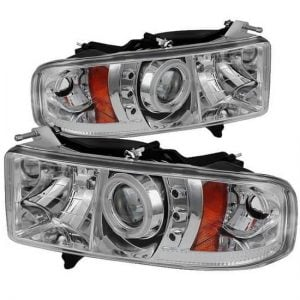 1999-2002 Dodge Ram 1500, 2500, 3500 CCFL Halo LED Projector Headlights (Sports Model Only) (Replaceable LEDs) – Chrome