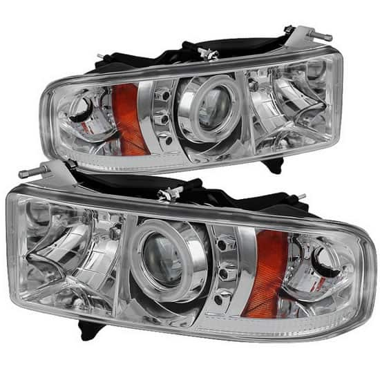 1999-2002 Dodge Ram 1500, 2500, 3500 CCFL Halo LED Projector Headlights (Sports Model Only) (Replaceable LEDs) - Chrome