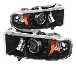 1999-2002 Dodge Ram 1500, 2500, 3500 Halo LED Projector Headlights (Sports Model Only) (Replaceable LEDs) – Black