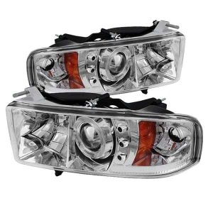 1999-2002 Dodge Ram 1500, 2500, 3500 Halo LED Projector Headlights (Sports Model Only) (Replaceable LEDs) – Chrome