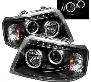 2003-2006 Ford Expedition LED Halo Projector Headlights (Replaceable LEDs) – Black