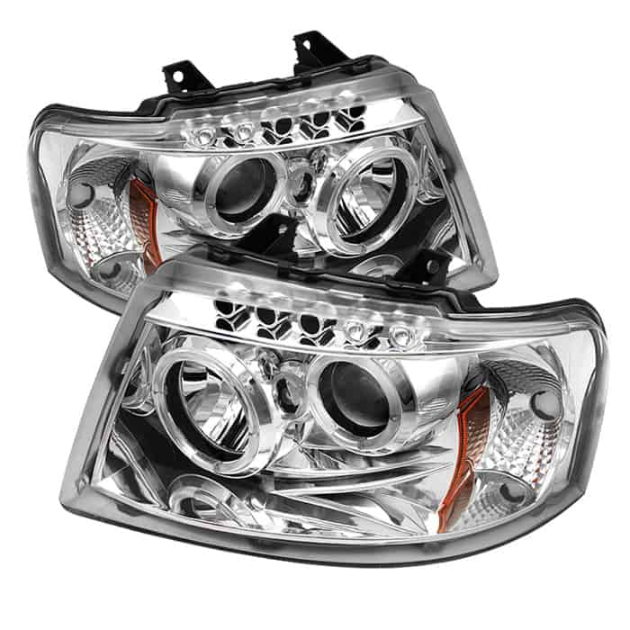 2003 2006 Ford Expedition Led Halo Projector Headlights Replaceable Leds Chrome