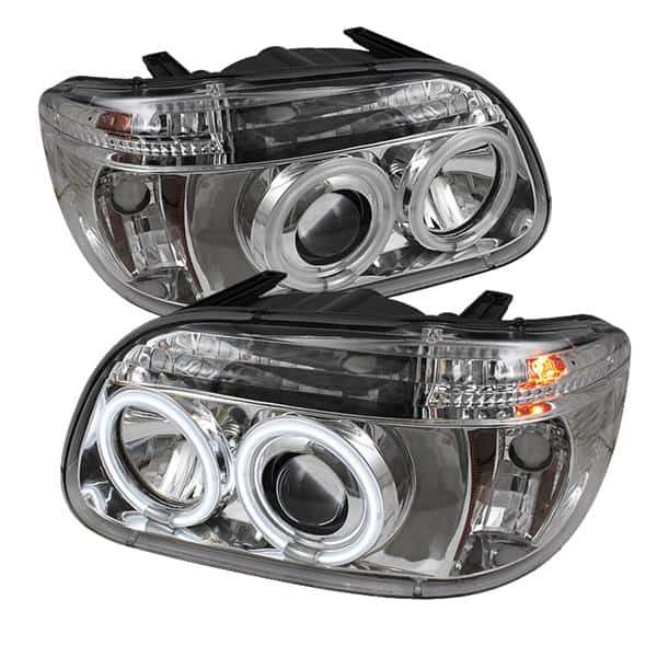 1995-2001 Ford Explorer 1PC CCFL Halo Projector Headlights (Not 2DR Sport  or Sport Trac Models) - Chrome