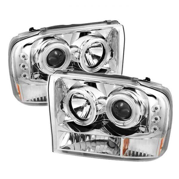 1999-2004 Ford F250, 350, Excursion 1PC Chrome Housing Dual CCFL Halo Headlight – Chrome