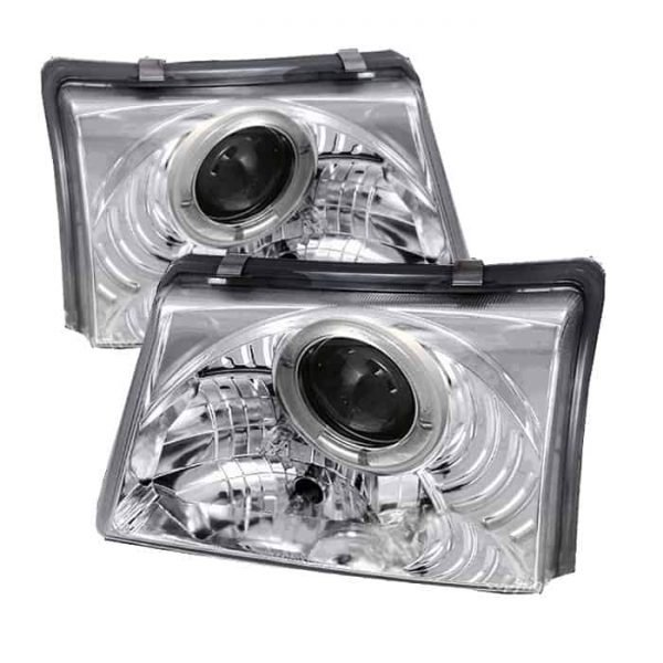 1998-2000 Ford Ranger LED Halo Projector Headlights – Chrome