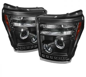 2011-2015 Ford Super Duty CCFL DRL Halo Projector Headlights – Black