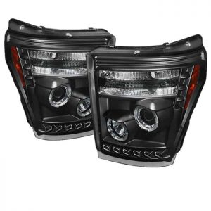 2011-2015 Ford Super Duty CCFL DRL Halo Projector Headlights – Black