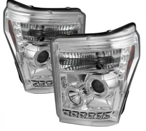 2011-2015 Ford Super Duty LED DRL Halo Projector Headlights – Chrome