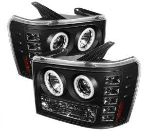 2007-2013 GMC Sierra 1500, 2500, 3500, (Includes HD Models) CCFL LED Projector Headlights (Replaceable LEDs) – Black