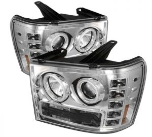 2007-2013 GMC Sierra 1500, 2500, 3500, (Includes HD Models) CCFL LED Projector Headlights (Replaceable LEDs) – Chrome