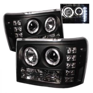 2007-2013 GMC Sierra 1500, 2500, 3500, (Includes HD Models) Halo LED Projector Headlights (Replaceable LEDs) – Black