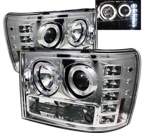2007-2013 GMC Sierra 1500, 2500, 3500, (Includes HD Models) Halo LED Projector Headlights (Replaceable LEDs) – Chrome
