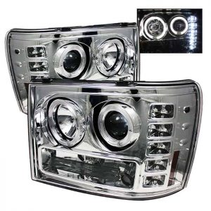 2007-2013 GMC Sierra 1500, 2500, 3500, (Includes HD Models) Halo LED Projector Headlights (Replaceable LED's) – Chrome