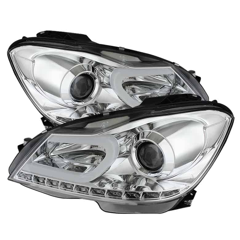 2012-2013 Mercedes Benz W204 C-Class Light Tube DRL Projector Headlights  (Halogen Model Only - Not For Xenon/HID Model) - Chrome