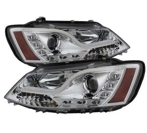 2011-2013 Volkswagen Jetta Light Tube DRL Projector Headlights (Halogen Model Only – Not Compatible With Xenon/HID) – Chrome