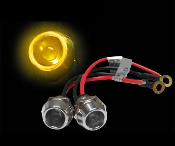 5mm 12V YELLOW LED Billet Indicator Light