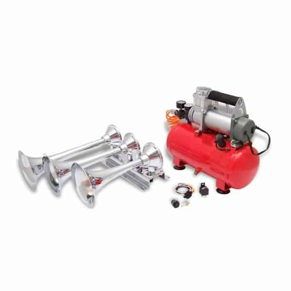 Kaos 150psi Horizontal 3 Trumpet High Output Train Truck Air Horn Kit