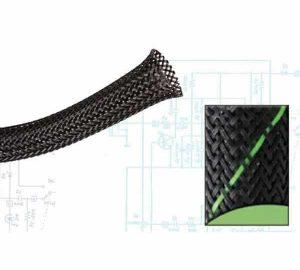 1 1/2″ Black and Green Thin Strip Ultra Wrap Wire Loom – 50 Feet