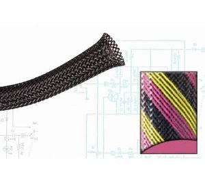 2 1/2″ Black, Pink and Yellow Strips Ultra Wrap Wire Loom – 50 Feet