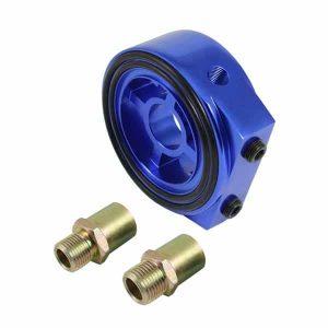Sandwich Oil Cooler/Gauge Adapter – Blue