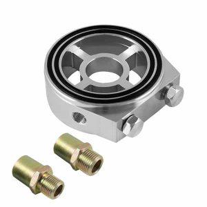 Sandwich Oil Cooler/Gauge Adapter – Silver