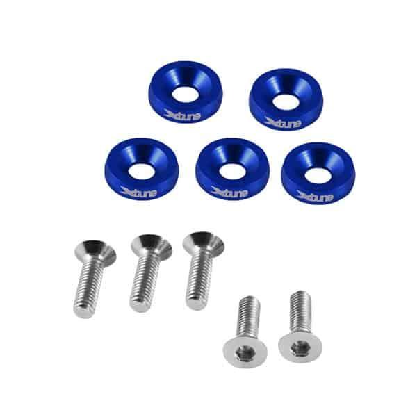 Concave 7075-T6 Aluminum Washer & Bolt Set - BLUE
