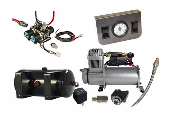 Mini Air Management System (4 Valve Air Manifold Kit w/Compressor, Tank, Switches and Gauges) - 2 Corners
