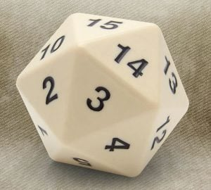 20 Sided White Dice Custom Shift Knob with Adapter Kit