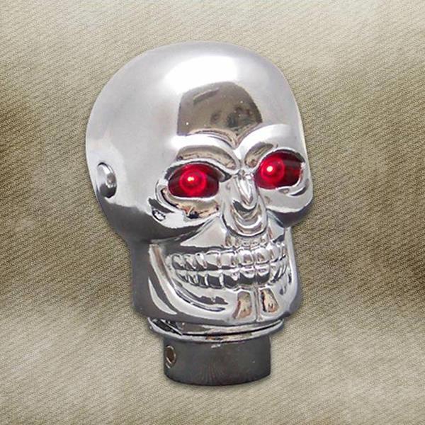 Illuminated Chrome Skull Custom Shift Knob with Adapter Kit